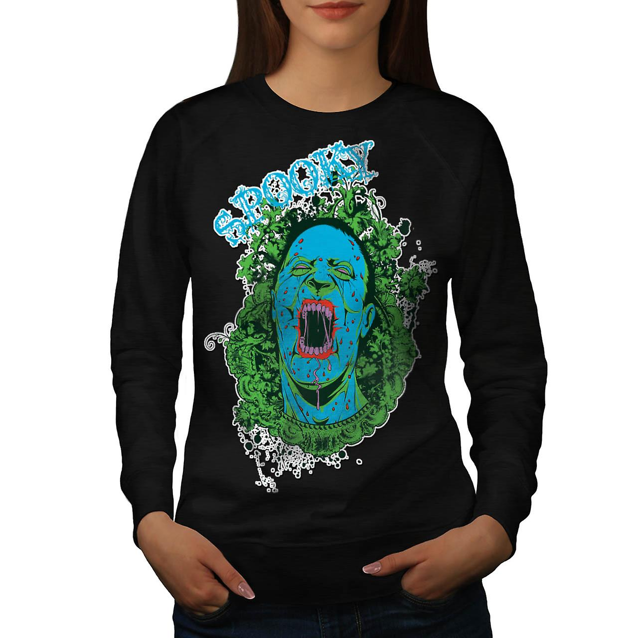 Spooky Vampire Ghost Horror Dead Women Black Sweatshirt | Wellcoda