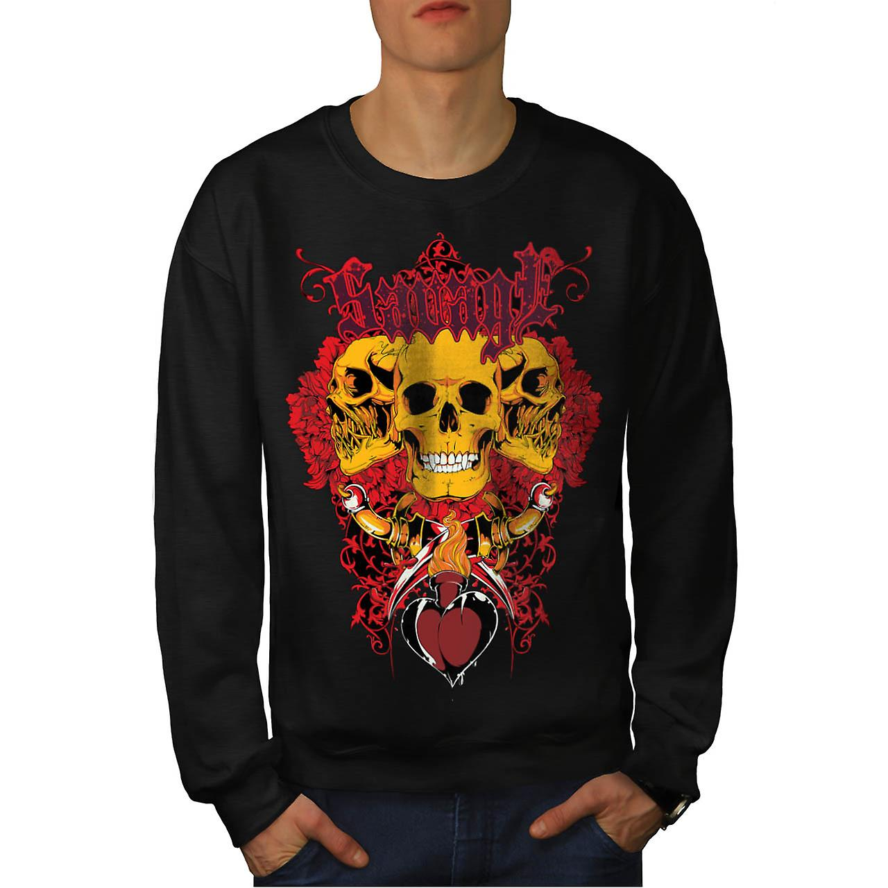 Savage Badass Rose Skull Men Black Sweatshirt | Wellcoda