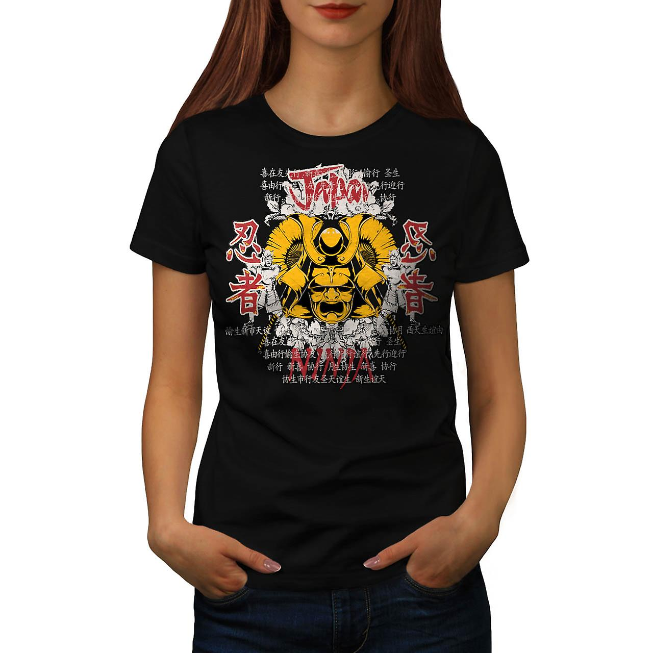 Japan Warrior Mask Ninja Face Women Black T-shirt | Wellcoda