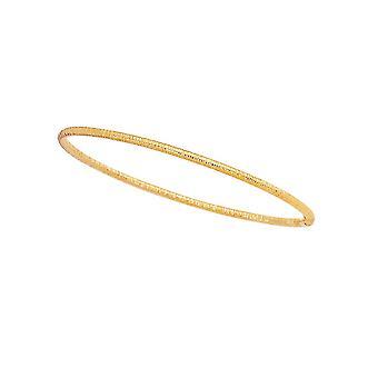 14 k イエローゴールド 3.0 mm 光沢のある質感のラウンド チューブ スタッカブル バングル ブレスレット - 3.0 グラム