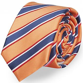 Fabio Farini 6 cm, colourful, stylish tie, for every occasion in yellow gold with stripes in blue, white and Red