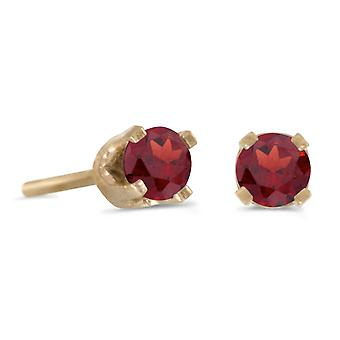 14k Yellow Gold 3 mm Petite Round Genuine Garnet Stud Earrings