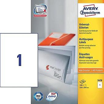 Avery-Zweckform 3478 Labels (A4) 210 x 297 mm Paper White 100 pc(s) Permanent All-purpose labels Inkjet, Laser, Copier