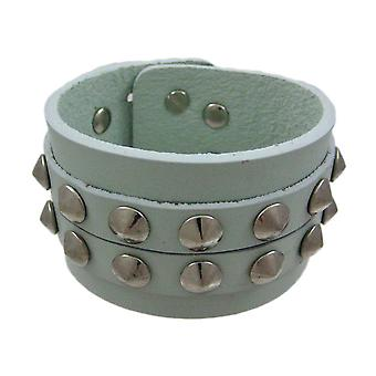 Gray Leather 2 Row Cone Spiked Wristband Wrist Band
