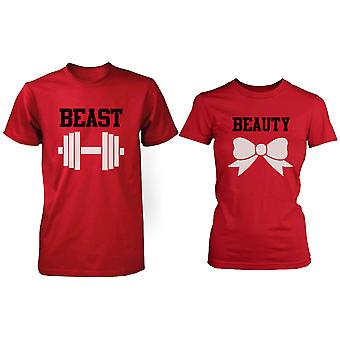 RED Beauty & beest paar T-shirt (twee Shirts) Matching paar T-Shirts