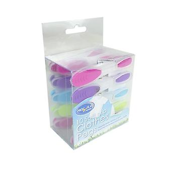 Royle Home Pack of 10 Soft Grip Clothes Pegs Assorted Colours
