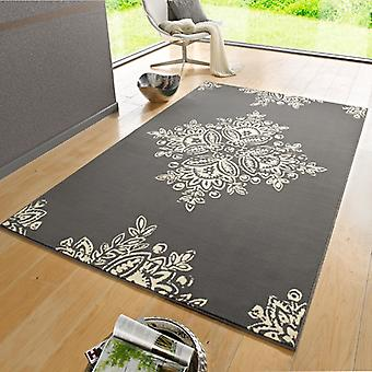 Designer velour carpet blossom grey cream | 102429