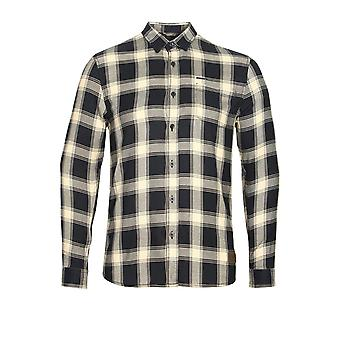 883 POLICE Leopard Long Sleeve Check Shirt | Navy White