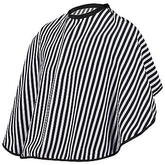 TRIXES Hairdressers Barbers Shoulder Cape Gown Adjustable Black and White Stripe