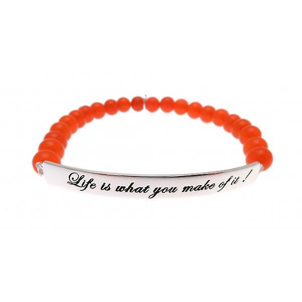 W.A.T 925 Sterling Silver 'Life Is What You Make Of It' Neon Red Jade Quote Bracelet