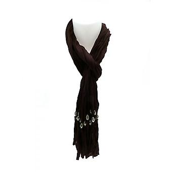 W.A.T Soft Brown Cotton Crinkled  Beaded Tassel Scarf