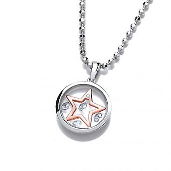 Cavendish French Celestial Silver and Rose Gold Mini Shooting Star Pendant with 18-20