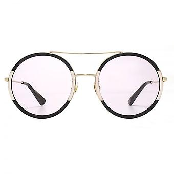 Gucci Double Bridge Metal Round Sunglasses In Gold Pink