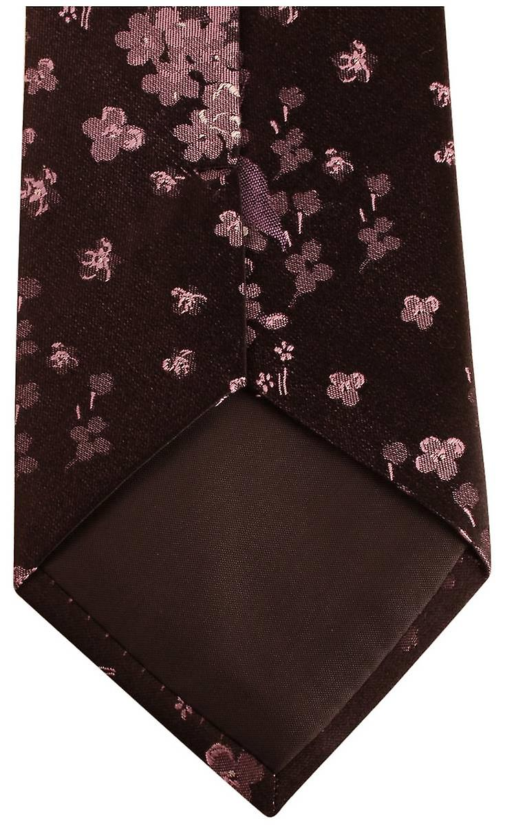 Knightsbridge Neckwear Kensington Floral Silk Tie - Black/Purple