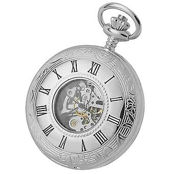 Woodford Chrome plaqué montre de poche Double demi Hunter squelette printemps plaie - Silver