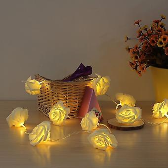 Sentik 20 Warm White LED String Rose Flower Fairy Lights Indoor Christmas Bedroom