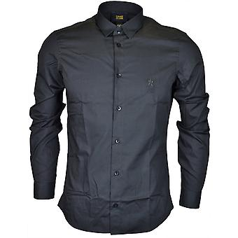 Cavalli Class Popeline Embroidered Slim Fit Black Cotton Shirt