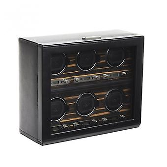 Wolf Designs Roadster Black Leather & Wood 6 Piece Watch Winder 2.7