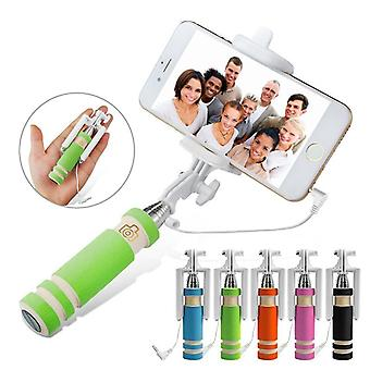 ONX3 (groen) universele verstelbare Mini Selfie Camera Stick Pocket Sized Monopod ingebouwde Remote Shutter voor Verykool S5036 Apollo