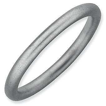 Sterling Silver Stackable Expressions Rhodium Satin Ring - Ring Size: 5 to 10