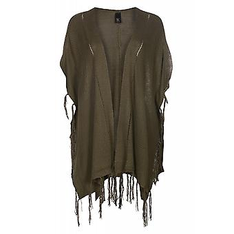 B.C.. best connections by heine tunic women's Green poncho with tassels