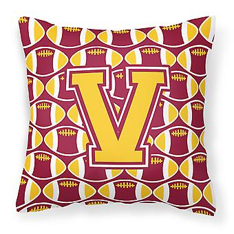 Letter V Football Maroon and Gold Fabric Decorative Pillow