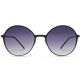 Italia Independent I Thin Metal Round Sunglasses In Black