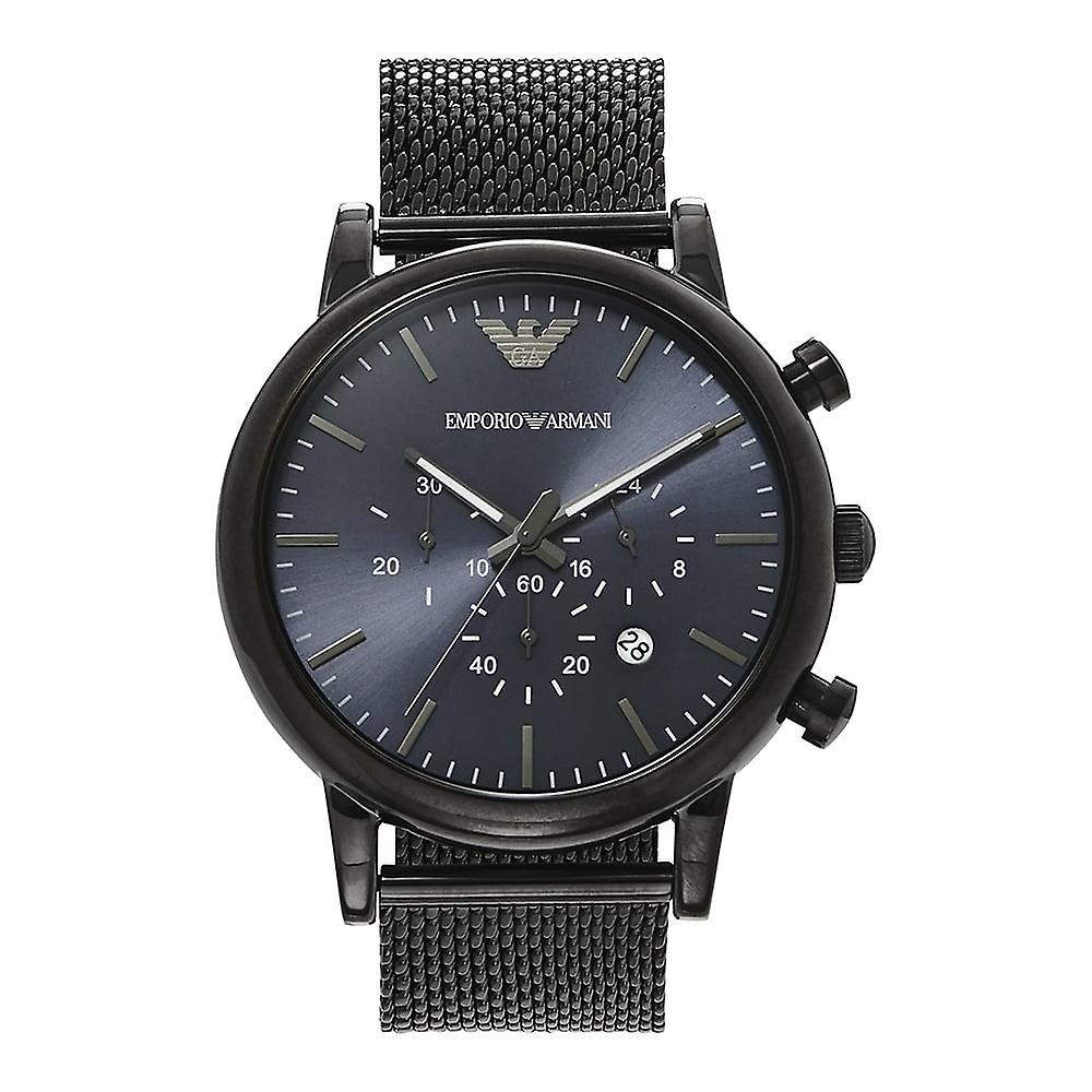 Armani Watches Ar1979 Blue & Gunmetal Grey Mesh Chronograph Men's Watch