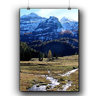 Matte or Glossy Poster with Mountain Valley Nature | Wellcoda | *q275