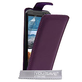 HTC M9 Leather-Effect Flip Case - Purple