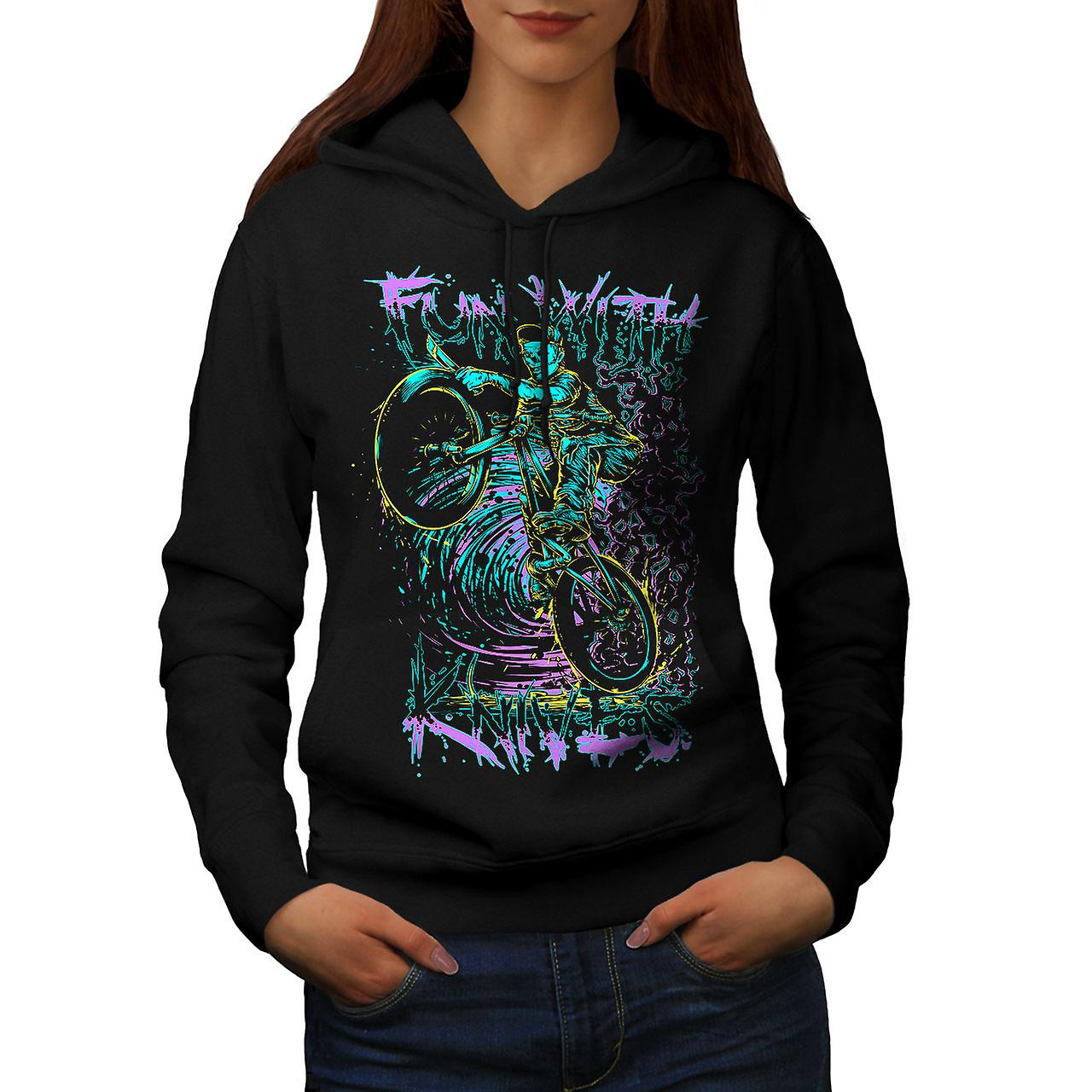 Fun Knife Biker Art Skull Women Black Hoodie | Wellcoda