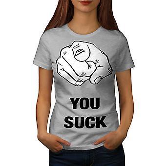 Du suger offensiv roliga kvinnor GreyT-skjorta | Wellcoda