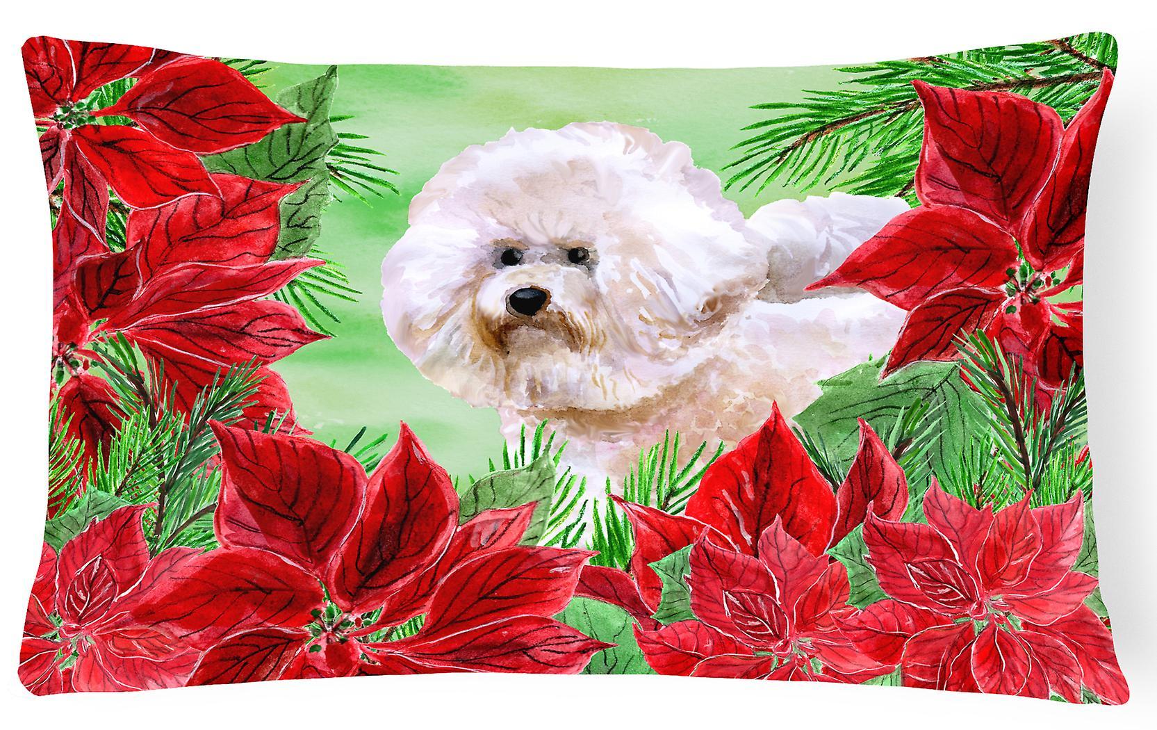 Decorative Bichon Fabric Frise2 Pillow Poinsettas Canvas 3AjcS4RLq5