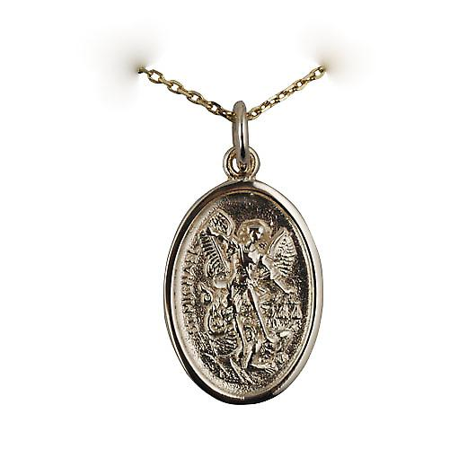 9ct Gold 21x15mm oval St Michael Pendant with a cable Chain 16 inches Only Suitable for Children