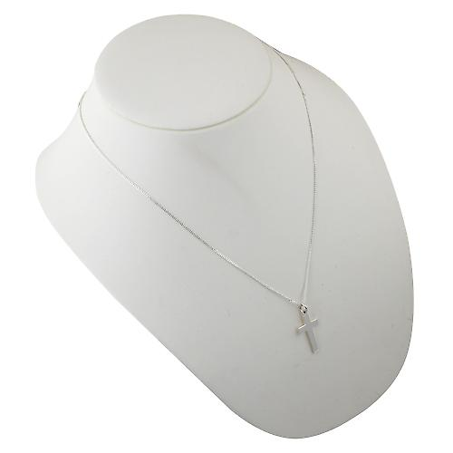 Silver 24x14mm plain flat latin Cross with a curb Chain 22 inches