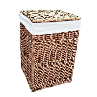 Large Light Steamed Square Laundry Baskets with White Lining