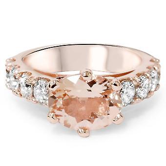 4ct ovale Morganite & Diamond Ring 14K Rose Gold