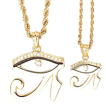 Iced Out Bling Mini Ketten Anhänger Set - 2 x RHA AUGE gold