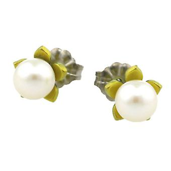 Ti2 Titanium Small Flower and Pearl Stud Earrings - Lemon Yellow