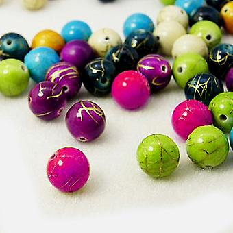 Packet 10 x Mixed Acrylic 14mm Plain Round Beads HA25160