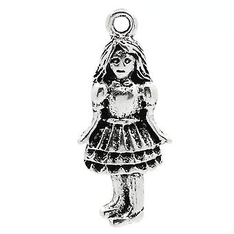 Packet 4 x Antique Silver Tibetan 26mm Girl Charm/Pendant ZX06245