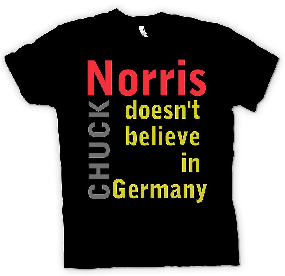 Mens T-shirt - Chuck Norris Doesn't Believe In Germany - Funny