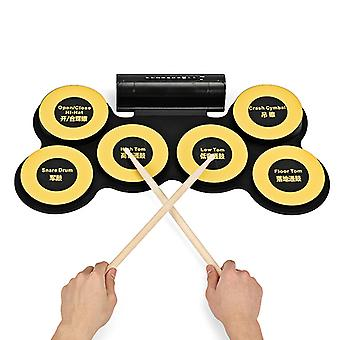 Electronic Drum Pad - 6 Drum Pads, 2 Foot Pedals, USB Port, Earphone Jack, Self-recording, Portable Design