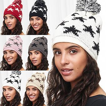 Ladies Hat STARS Beanie Bobble Hat Beanie pattern motif