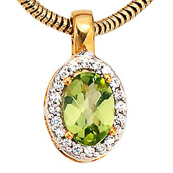Trailer 585/g 0, 10ct. Peridot pendant diamonds diamond pendant with Peridot