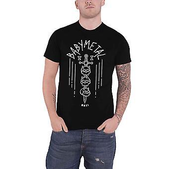 Babymetal T Shirt kraniet sværd Band Logo japanske Metal nye officielle Herre sort