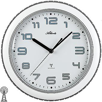 Atlanta 4387/0 wall clock radio radio controlled wall clock analog white grey round