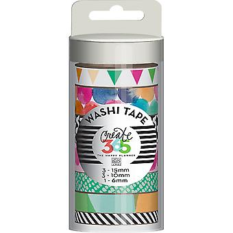 Create 365 Washi Tape 7/Pkg-Watercolor