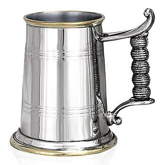 Yorkshireman messing Base & Lip touw handvat tinnen Tankard - 1 Pint