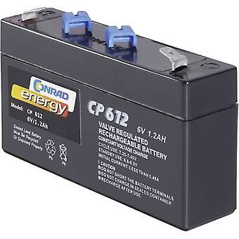 Conrad energy CE6V/1,2Ah 250091 VRLA 6 V 1.2 Ah AGM (W x H x D) 97 x 51 x 25 mm 4.8 mm blade terminal Maintenance-free
